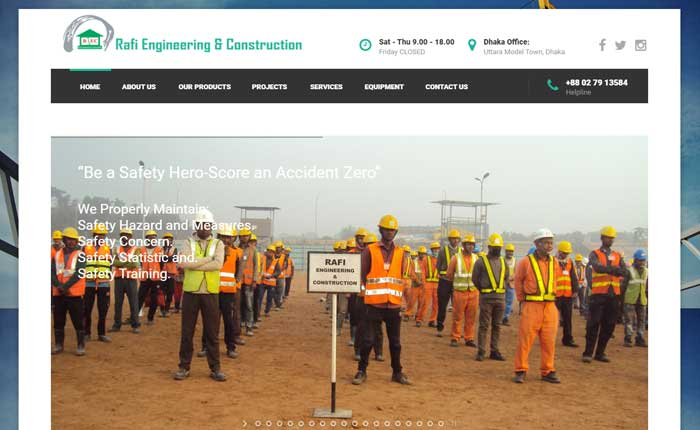 CMS WordPress web design for construction sector